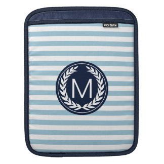 Light Blue Stripe with Navy Laurel Wreath Monogram iPad Sleeve