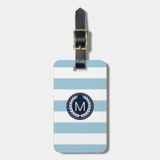 Light Blue Stripe with Navy Laurel Wreath Monogram Luggage Tag