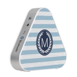 Light Blue Stripe with Navy Laurel Wreath Monogram Speaker