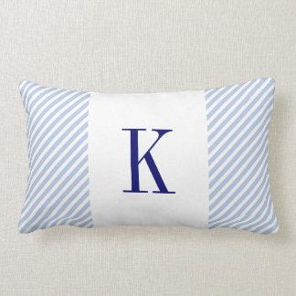 Light Blue Stripes Navy Blue Monogram Throw Pillow