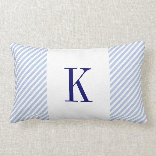 Light blue stripes navy blue monogram throw pillow zazzle for Light blue throw pillows