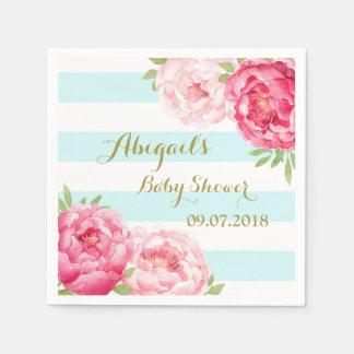 Light Blue Stripes Pink Floral Baby Shower Napkins