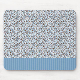 Light blue stripes with circles mousepads