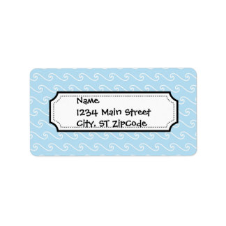 Light Blue Swirls Waves Nautical Beach Print Label