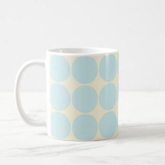 Light Blue, Tan, Big Polka Dots Coffee Mugs