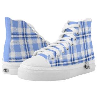 Light Blue Tartan Plaid Pattern High-Top Sneakers