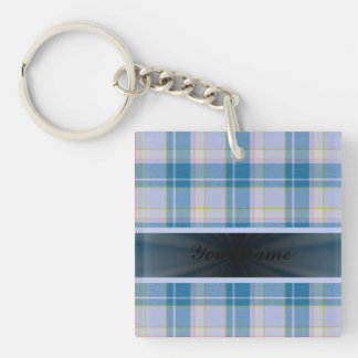 Light Blue Tartan With Ribbon Keychain