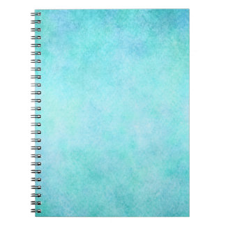 Light Blue Teal Aqua Watercolor Paper Colorful Spiral Note Book