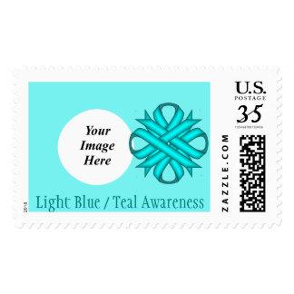 Light Blue / Teal Clover Ribbon Postage