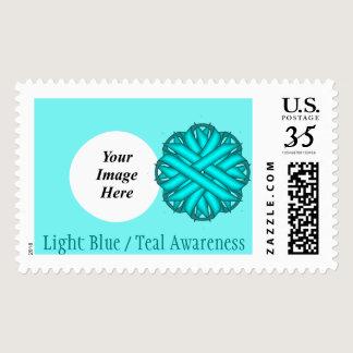 Light Blue / Teal Flower Ribbon Postage