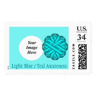 Light Blue / Teal Flower Ribbon Stamp