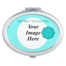 Light Blue / Teal Flower Ribbon Template Mirror For Makeup