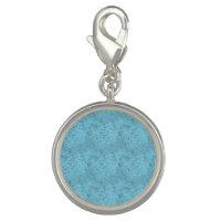 Light Blue Texture Round Charm