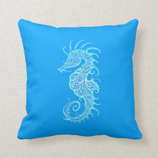 Light Blue Tribal Seahorse Pillow