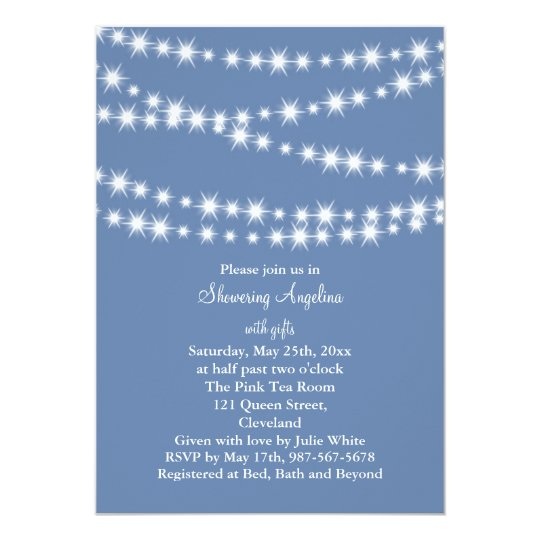 Light Blue Twinkle Lights Bridal Shower Invite