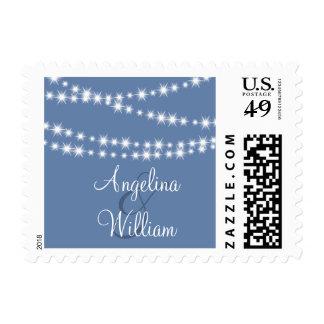 Light Blue Twinkle Lights Bride and Groom Stamp