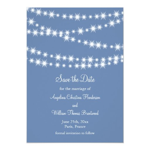 Light Blue Twinkle Lights Save the Date 5x7 Paper Invitation Card