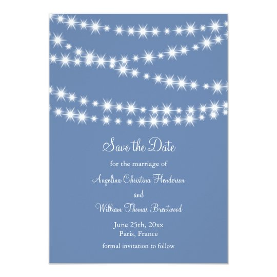 Light Blue Twinkle Lights Save the Date Card