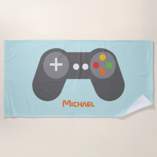 Light Blue Video Game Controller Beach Towel