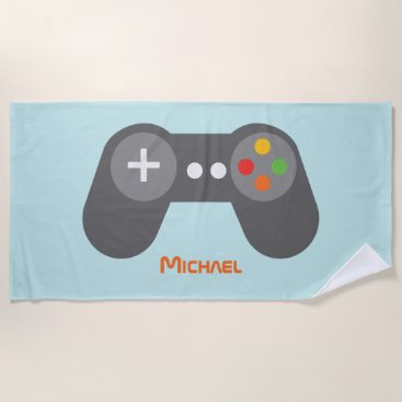Beach Themed Light Blue Video Game Controller Beach Towel
