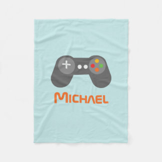 Light Blue Video Game Controller Fleece Blanket