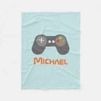 Light Blue Video Game Controller Fleece Blanket
