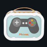 """Light Blue Video Game Controller Lunch Box<br><div class=""""desc"""">This fun lunch box features a cool vector illustration of a video game controller and can be personalized with your child&#39;s name,  monogram,  initial,  or any text of your choice for a perfect custom gift.</div>"""