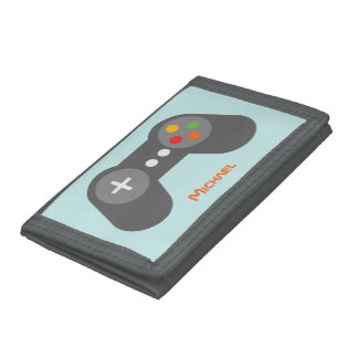 Light Blue Video Game Controller Trifold Wallet