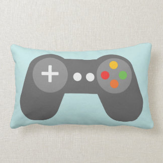 Light Blue Video Games Controller Lumbar Pillow
