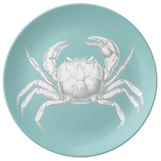 Light blue vintage crab design porcelain plate porcelain plates