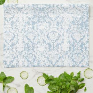 light blue vintage damask pattern hand towel