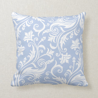 Light Blue Vintage Damask Pattern Throw Pillows
