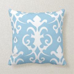 Light Blue Vintage Pattern Damask Pillow
