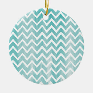 Light Blue Watercolor Chevron Pattern Christmas Ornaments