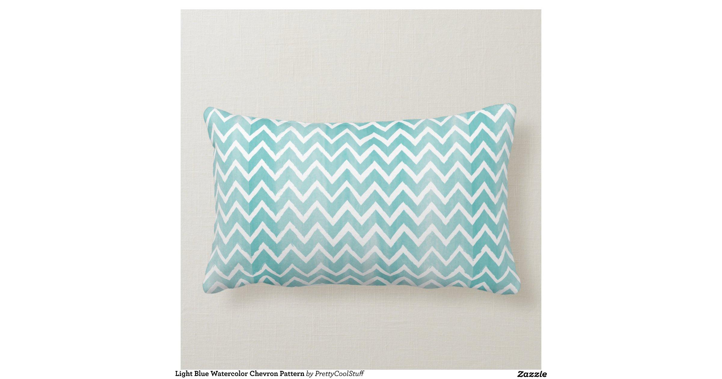 Throw Pillow Light Blue : Light Blue Watercolor Chevron Pattern Throw Pillows Zazzle
