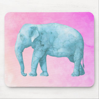 Light Blue Watercolor Elephant on Pink Background Mouse Pad