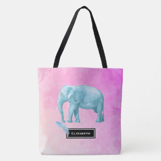 Light Blue Watercolor Elephant on Pink Background Tote Bag