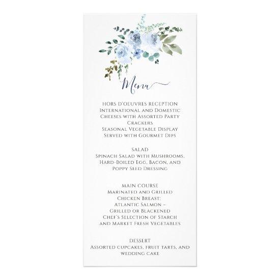 Light Blue Watercolor Floral | Navy Wedding Menu