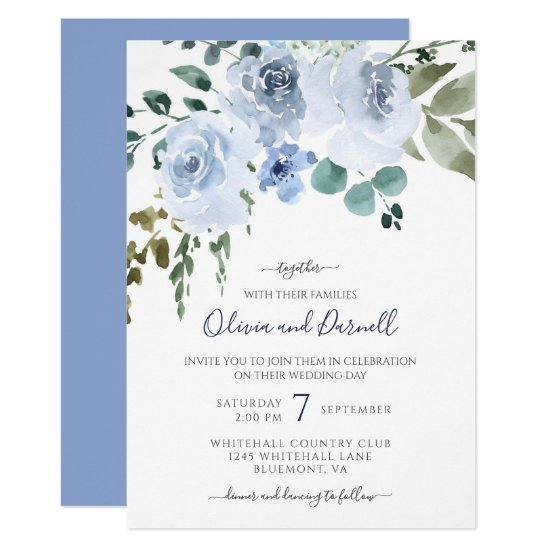 Light Blue Watercolor Floral Wedding I Invitation