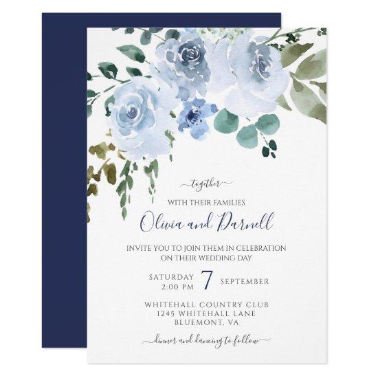 Light Blue Watercolor Floral Wedding | Navy Invitation