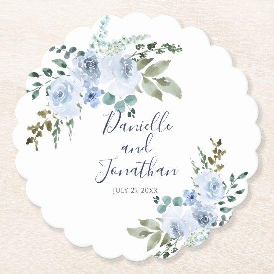Light Blue Watercolor Floral Wedding Paper Coaster