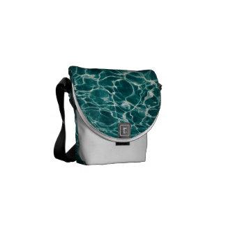 Light Blue Wavy Rippling Fire Water Messenger Bag