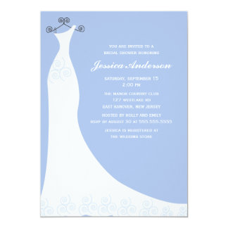 Light Blue Wedding Gown Bridal Shower Card
