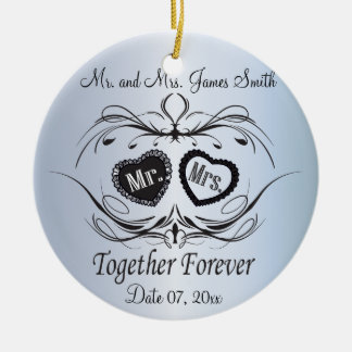 Light Blue Wedding Keepsake Ceramic Ornament