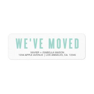 Light Blue We've Moved Label