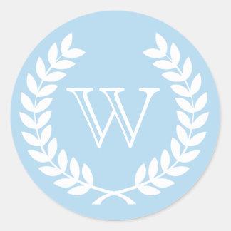 Light Blue Wheat Laurel Wreath Monogram Env Seal Round Stickers
