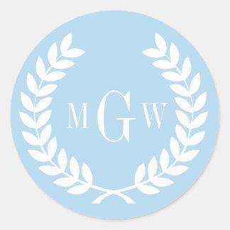 Light Blue Wheat Laurel Wreath Monogram Env Seals Sticker