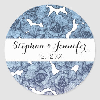 Light Blue White and Black Modern Line Art Flowers Classic Round Sticker