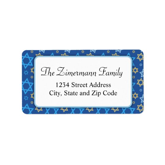 Light Blue White and Gold Star of David Pattern Label
