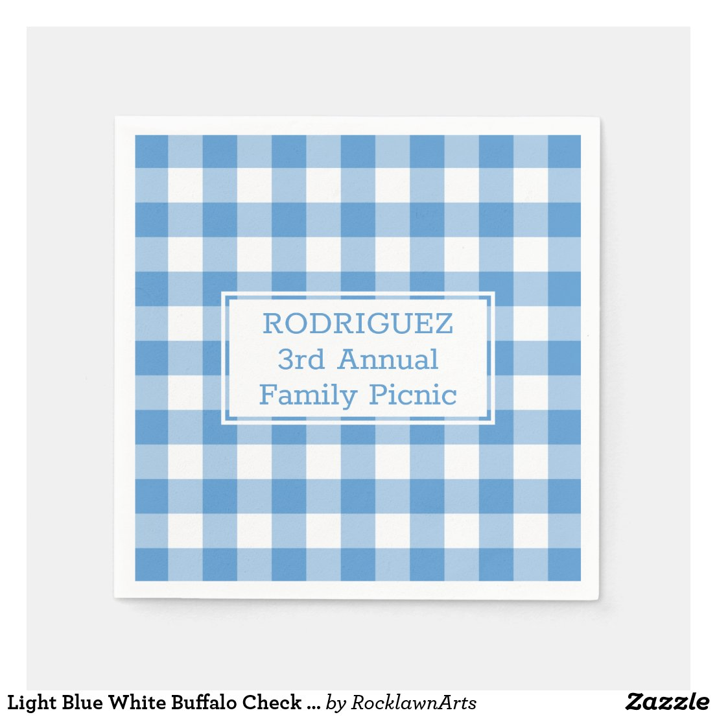 Light Blue White Buffalo Check Name Family Picnic Napkin